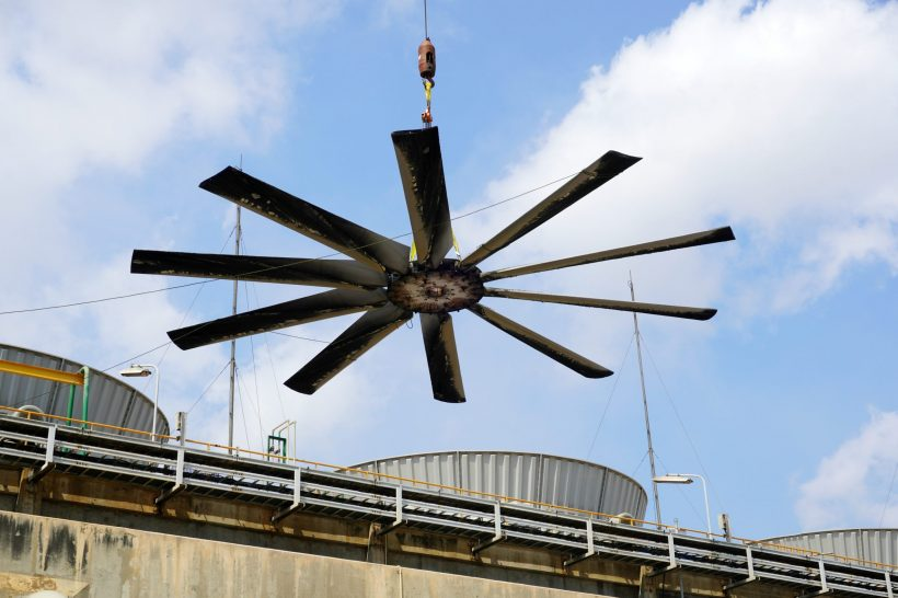 Fan,Blades,Of,Cooling,Tower,Is,Being,Lifted,Down,For
